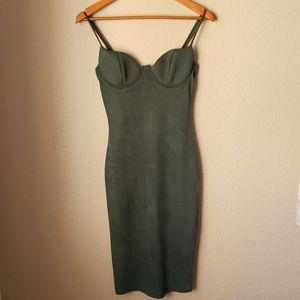 Olive Green suede Sexy dress